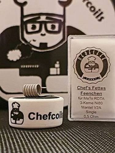 Chefcoils by Chefkoch -Fettes Feenchen Ni80/V2A Coil- 0.50 Ohm, 1er-Pack