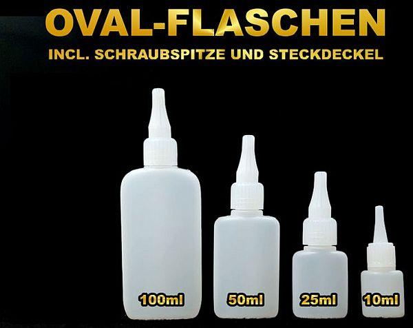 FLASCHE Set oval mit Schraubspitze und Deckel, 50ML